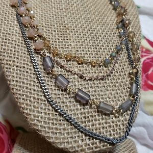 4 long silver, gold crystal bead chain